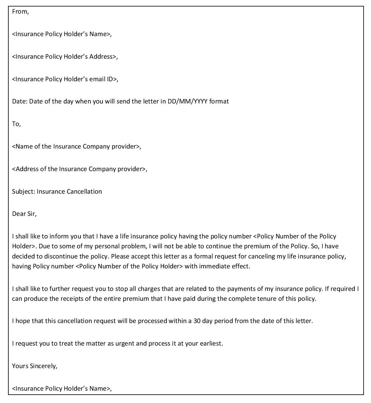 Insurance Policy Cancellation Letter Sample from www.anamarzablog.com
