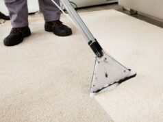 Steam Cleaned Carpet with Reduced Drying Time